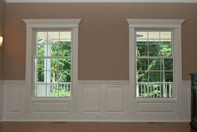 Our Wainscoting Design System incorporates elegant Pediment Heads, Fluted Pilasters and Plinth Block trim for your windows and doors that look elegant. Installed in Wolcott, Connecticut