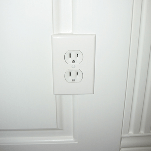 Wainscoting Reversed Molding Behind Outlet Cover. Installed in Waterbury Connecticut