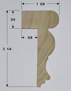 Poplar Top Cap Molding Cross Section with dimensions